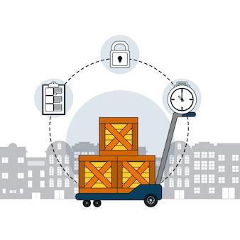 Caixas em handtruck com símbolos de entrega