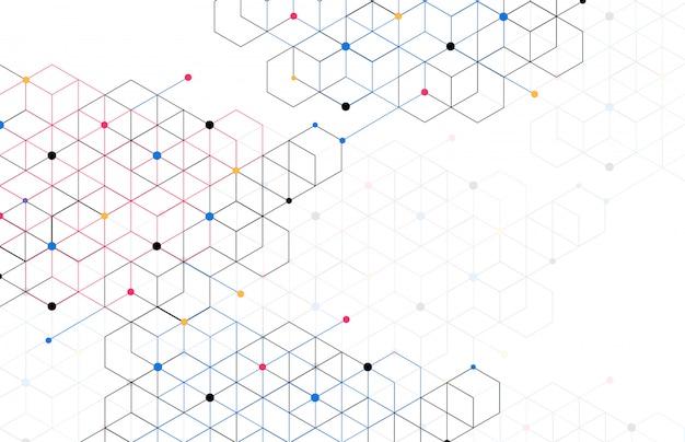 Caixas geométricas abstratas fundo conexão de linha de ponto