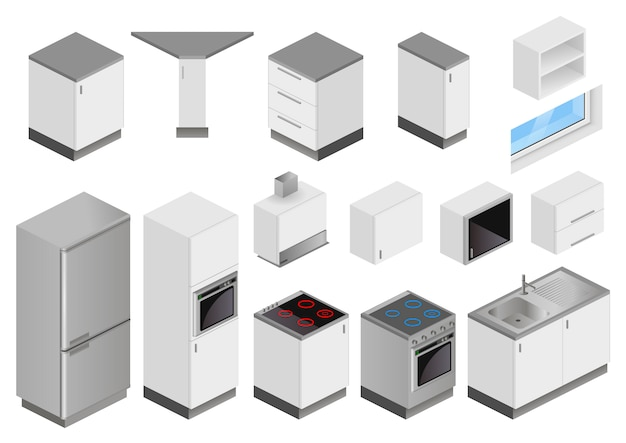 Caixas isométricas de equipamentos para projeto de cozinha
