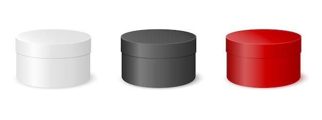 Caixas redondas brancas pretas vermelhas embalagem de papelão para design de produto