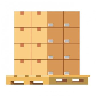 Caixas sobre ilustração de paletes