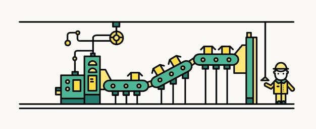 Caixas transportadoras de correia de fábrica, trabalhador usando capacete e roupas de proteção controlando o processo de produção. fabricação e maquinários automatizados. ilustração vetorial no estilo de linha de arte.