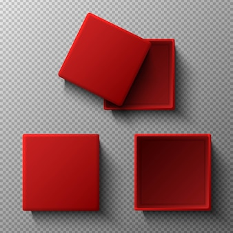 Caixas vermelhas com e sem tampa. ícone da ilustração em fundo transparente. vista do topo.