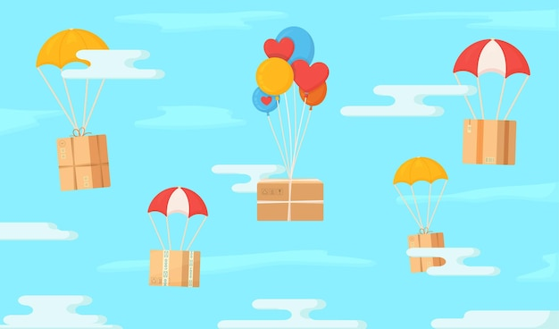 Caixas voando na ilustração do céu de transporte em um estilo incomum