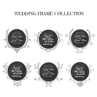 Caixilhos de convite de casamento floral preto e branco desenhados a mão