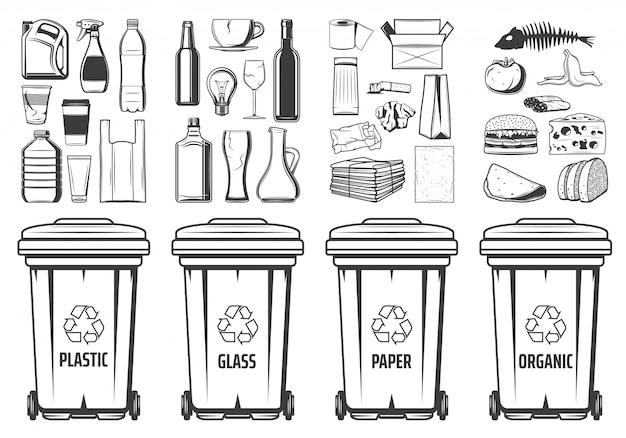 Caixotes de reciclagem de lixo, resíduos de recipientes