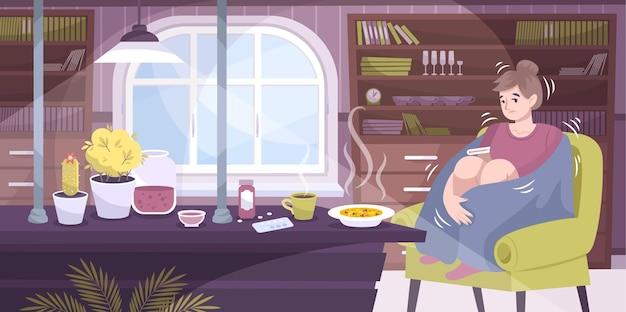Calafrios, resfriados, composição plana com cenário de casa do interior da sala de estar e uma mulher doente tremendo com ilustração de febre