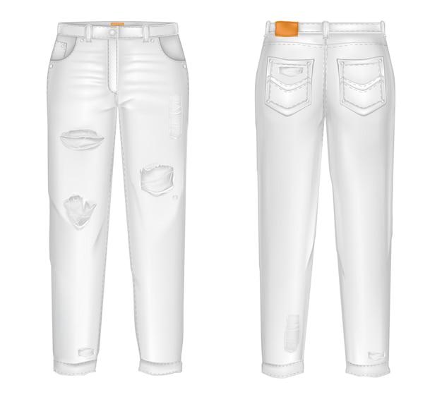 Calça jeans branca realista com rasgos, lacunas.