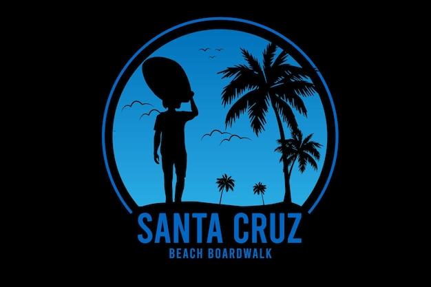 Calçadão da praia de santa cruz cor azul