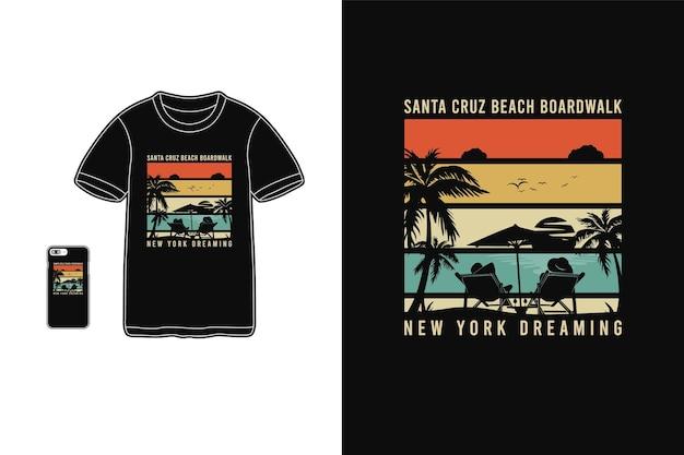 Calçadão da praia de santa cruz new york dreaming, t-shirt mercadoria silhueta estilo retro