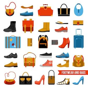 Calçado de moda e conjunto de malas