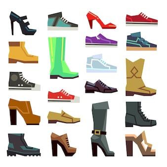 Calçados casuais diferentes calçado definido. inicialização de moda para ilustração de homem ou mulher