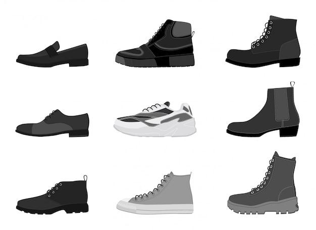 Calçados dos homens da coleção isolados no fundo branco. conjunto de botas de homens