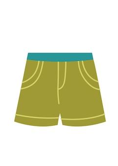 Calção de banho masculino vetor verde doodle estilo retrô ícone logotipo de roupas isolado