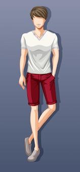 Calção e camisa vestindo homem