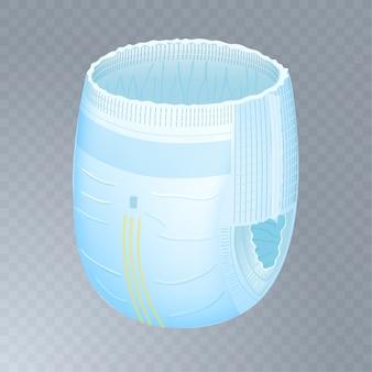 Calças de fralda absorvente de bebê em fundo transparente.