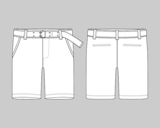 Calças de shorts esboço técnico com modelo de cinto