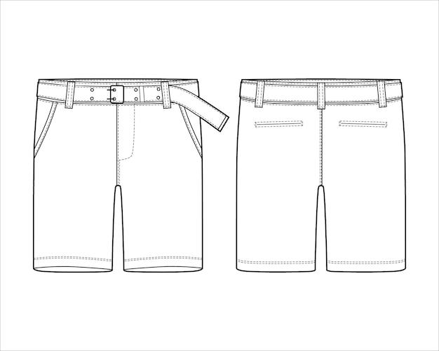 Calças de shorts esboço técnico com modelo de design de cinto.