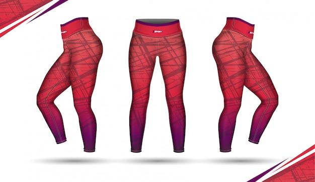 Calças leggings formação ilustração de moda com molde