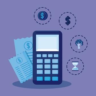 Calculadora com conjunto de ícones finanças da economia