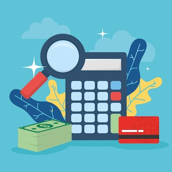 Calculadora com ícones de dinheiro