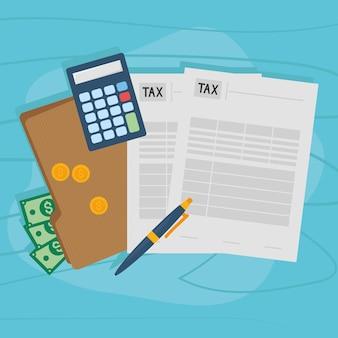 Calculadora de documentos fiscais, dinheiro e caneta