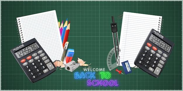Calculadora de escritório na cor preta com ferramentas escolares