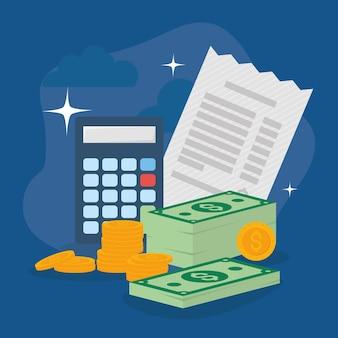 Calculadora de recebimento de impostos e dinheiro