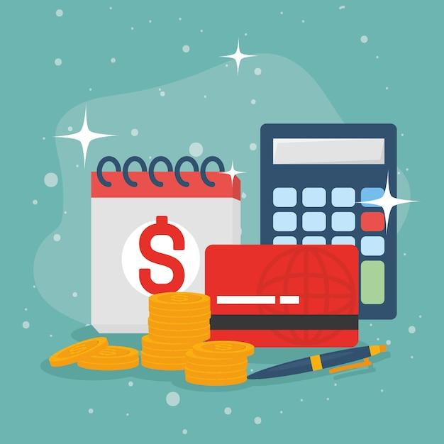 Calculadora e caneta do cartão de crédito para moedas do calendário fiscal