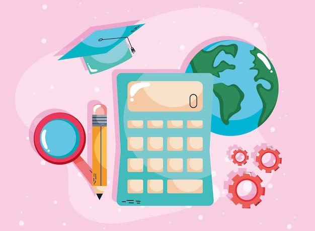 Calculadora e conceito de aprendizagem de suprimentos
