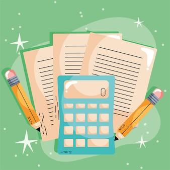 Calculadora e lápis aprendendo ícones