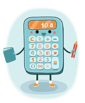 Calculadora eletrônica sorridente de desenho animado