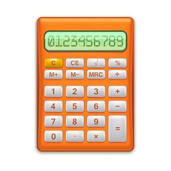 Calculadora eletrônica vermelha realística equipamento matemático para educação e escritório