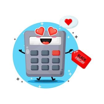 Calculadora mascote fofa com desconto preto de sexta-feira