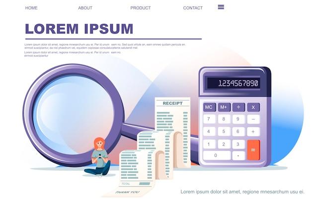 Calculadora pequena roxa moderna com função básica com ilustração em vetor plana recibo longo no banner horizontal de design de página de web site de fundo branco.
