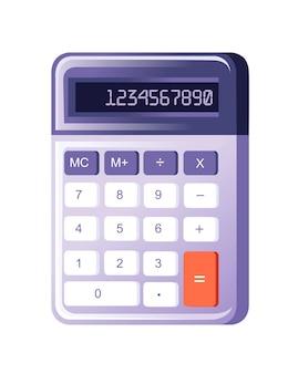 Calculadora pequena roxa moderna com ilustração em vetor plana de função básica isolada no fundo branco.