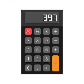 Calculadora preto fundo branco. design moderno. calculadora portátil eletrônica. ilustração das ações.