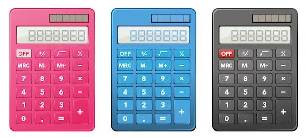 Calculadoras em três cores diferentes