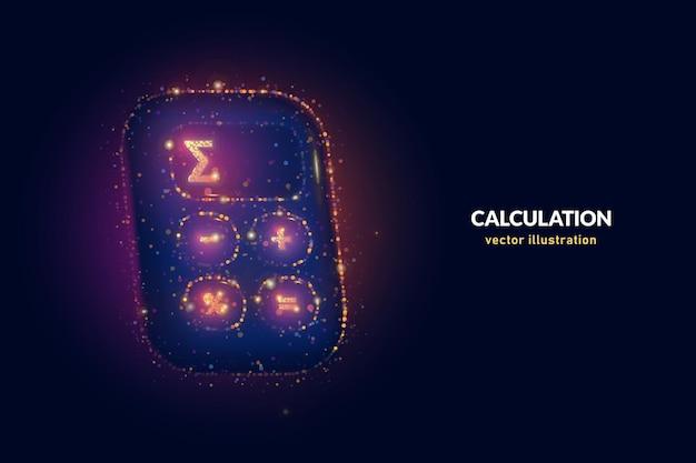 Calcule a ilustração digital do preço total feita de pontos de néon. arte geométrica vetorial da calculadora de preços com partículas brilhantes de néon sobre fundo azul.