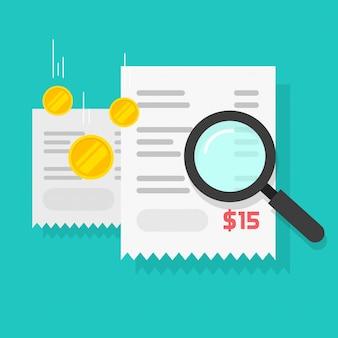 Cálculo de faturamento do orçamento ou auditoria de pagamento em dinheiro verifique ilustração plana dos desenhos animados