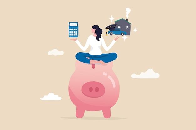 Cálculo de gestão de dinheiro, despesas, custo e orçamento de finanças pessoais para educação, hipoteca de habitação ou conceito de empréstimo de carro, mulher inteligente no cofrinho com calculadora, casa, carro e chapéu de pós-graduação.