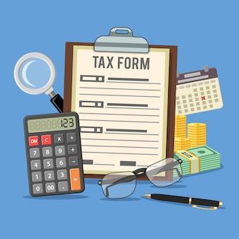 Cálculo de impostos, pagamento, contabilidade, conceito de papelada