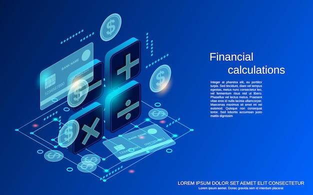 Cálculos financeiros ilustração plana 3d do conceito de vetor isométrico