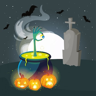 Caldeirão borbulhante de bruxa na cena do cemitério