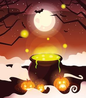 Caldeirão borbulhante de bruxa na laranja