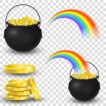 Caldeirão cheio de moedas de ouro e arco-íris