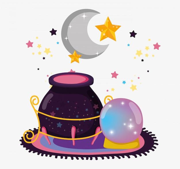 Caldeirão com bola de cristal mágica e lua com estrelas
