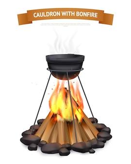 Caldeirão com composição de fogueira