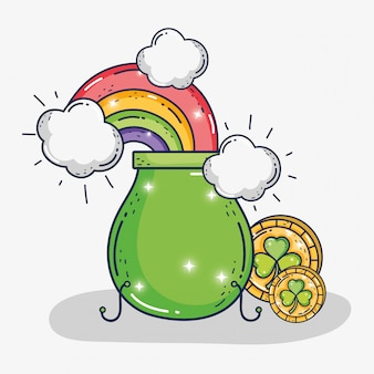 Caldeirão com moedas de trevos e arco-íris com nuvens