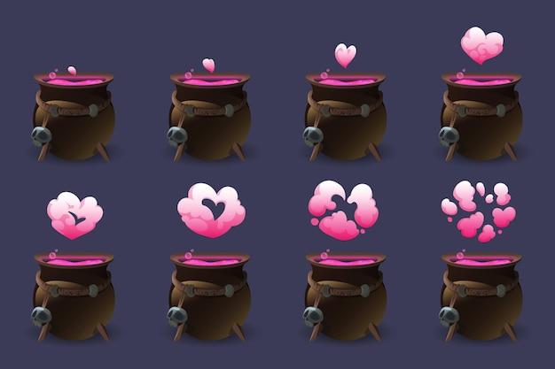 Caldeirão com poção do amor. sequência de movimento animação coração rosa nuvem de elixir mágico